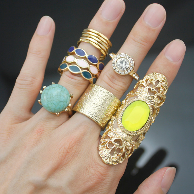 12x Gypsy Gold Tribal Bali Bridal Bezel Set Stone Crystal Mexico