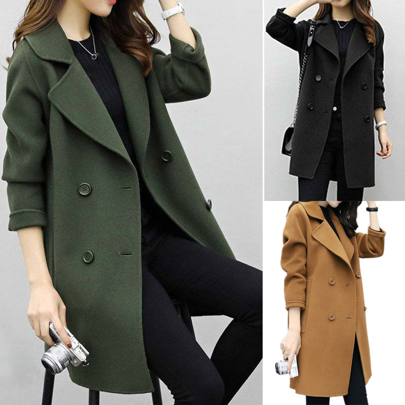 Autumn Winter Women Casual   Coats   Turn-  down   Collar Warm Long Sleeve Slim Lapel Cardigan Outwear QL Sale