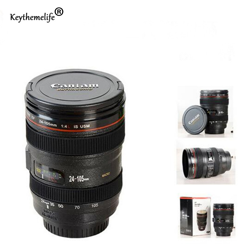 Keythemelife Creative Watter Bottle 24-105mm 1:1 SLR Camera Lens kettle Plastic Coffee Tea Water kettle 400ml C7 ...
