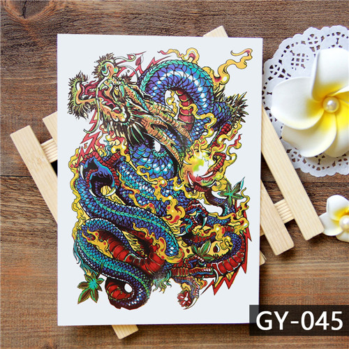 1pc Cool Black Fake Tattoo Body Art For Men Women Fish Carp Design Waterproof Arm Leg Decals Temporary Tattoo Sticker Taty Hh035 Temporary Tattoos