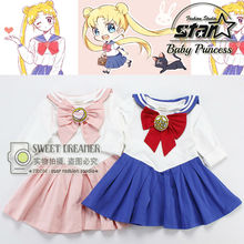 Japanese Kids Girls Halloween Dress Sailor Moon Chibi Usa Cosplay Costume School Navy Style Uniform Dress Children's Day Gift