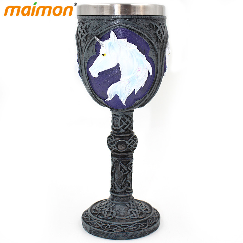 Gothic Double Layer Resin Unicorn Stainless Steel Goblet Cup Metal Whisky Wine Goblet Mug Novelty Pub Bar Decoration