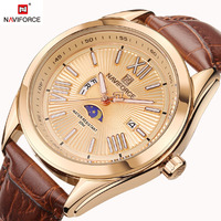 NAVIFORCE Luxury Brand Genuine Leather Strap Analog Date Men S Quartz Watch Casual Watche Men Sport