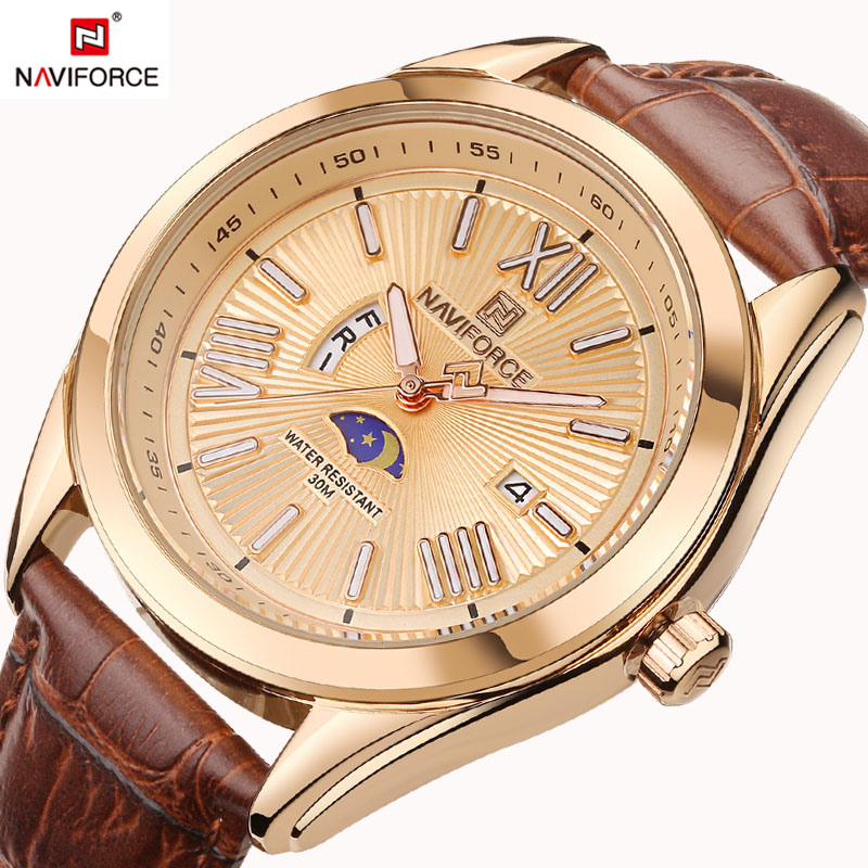 цена на NAVIFORCE Luxury Brand Genuine Leather Strap Analog Date Men's Quartz Watch Casual Watche Men sport Wristwatch relogio masculino