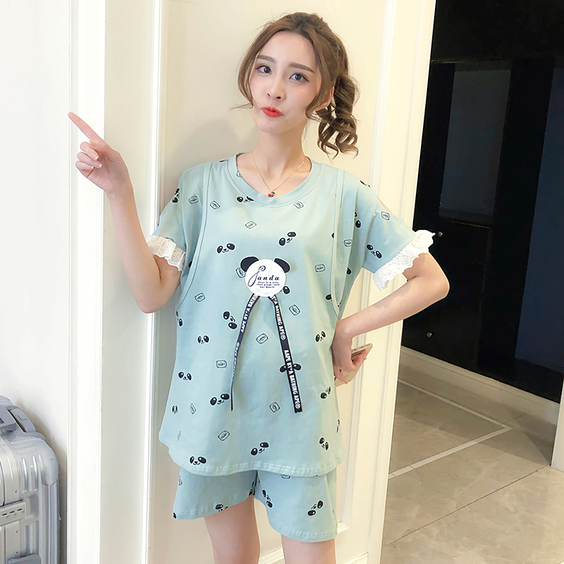 2018 new Maternity Pajamas set for Pregnant Women Soft Nursing Breastfeeding clothing summer thin cotton short sleeved clothes