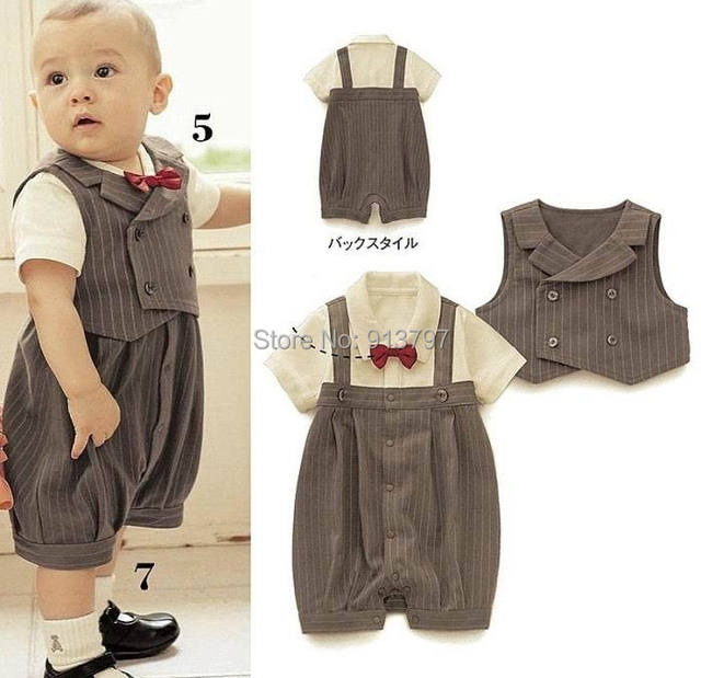 Retail Baby Boy Sets Red Bow Tie Stripe Gentleman Summer Romper + Vest Two Piece Outfits H12448-A