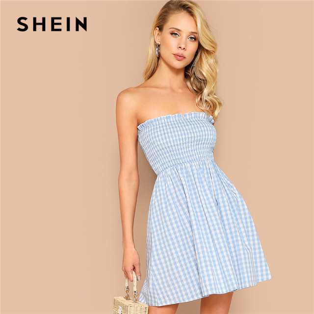 7fc15ff7d8a SHEIN Pastel Blue Frilled Trim Shirred Bodice Plaid Tube Summer Boho Dress  Women High Waist Strapless Mini Flared Sexy Dresses