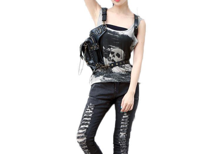 Hollow Out Gothic Rivet Waist Bag