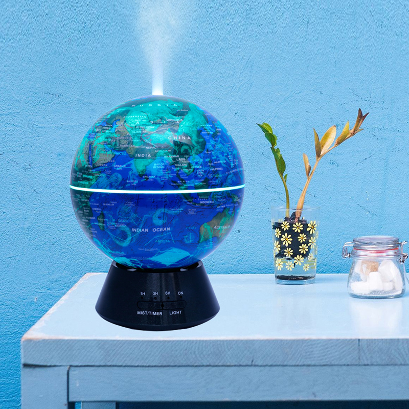 300ML Globe World Map Mini Ultrasonic Air Humidifier USB Home Air Humidifier Essential Oil Diffuser 300ml world map change color cup discolored in case of hot water