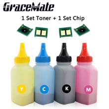 (4 bottles+4 pieces chip)Compatible refill Color Toner Powder CE310 CE310A -313A 126A 126 Compatible Cartridge