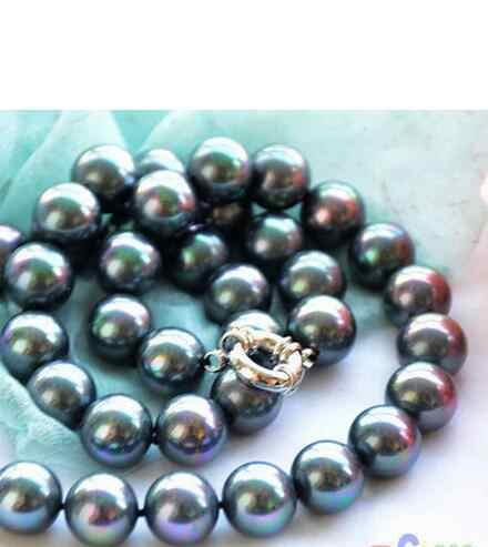 Wy0062 # H + Jewelry 12 mét con công màu đen round SOUTH SEA SHELL TRÂN NECKLACE AAA phong cách Fine Cao Quý Tự Nhiên