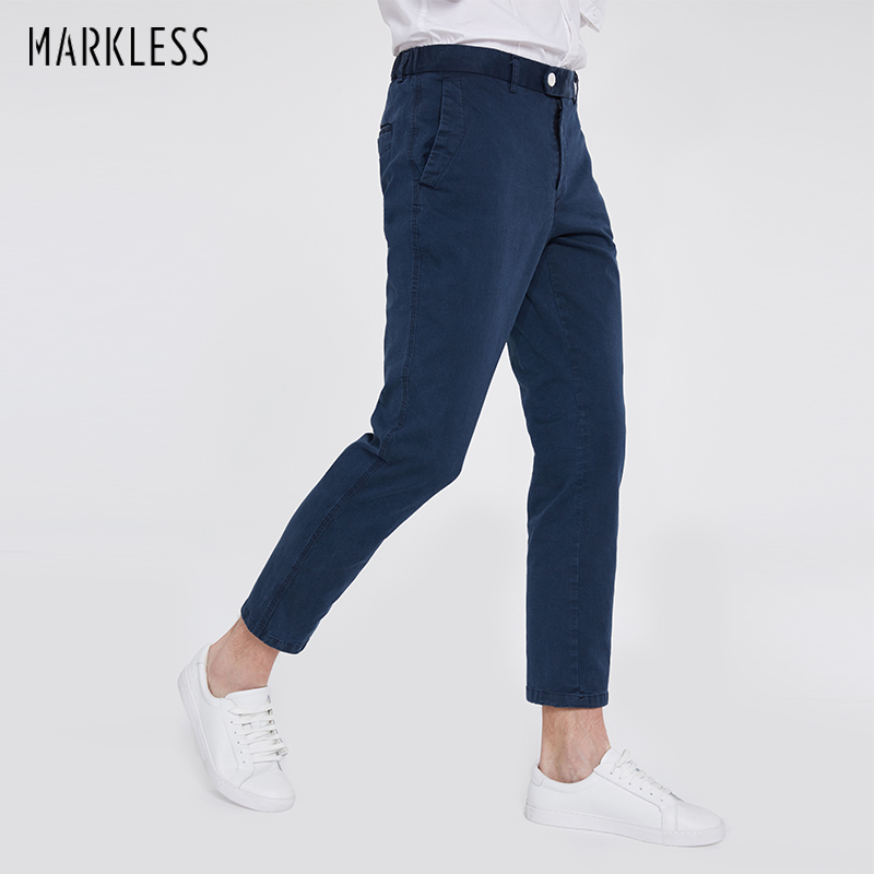 Markless 2018 New Men Casual Pants Male Solid Color Straight Trousers Fashion Cotton Business Casual Pants Pantalones CLA8807M