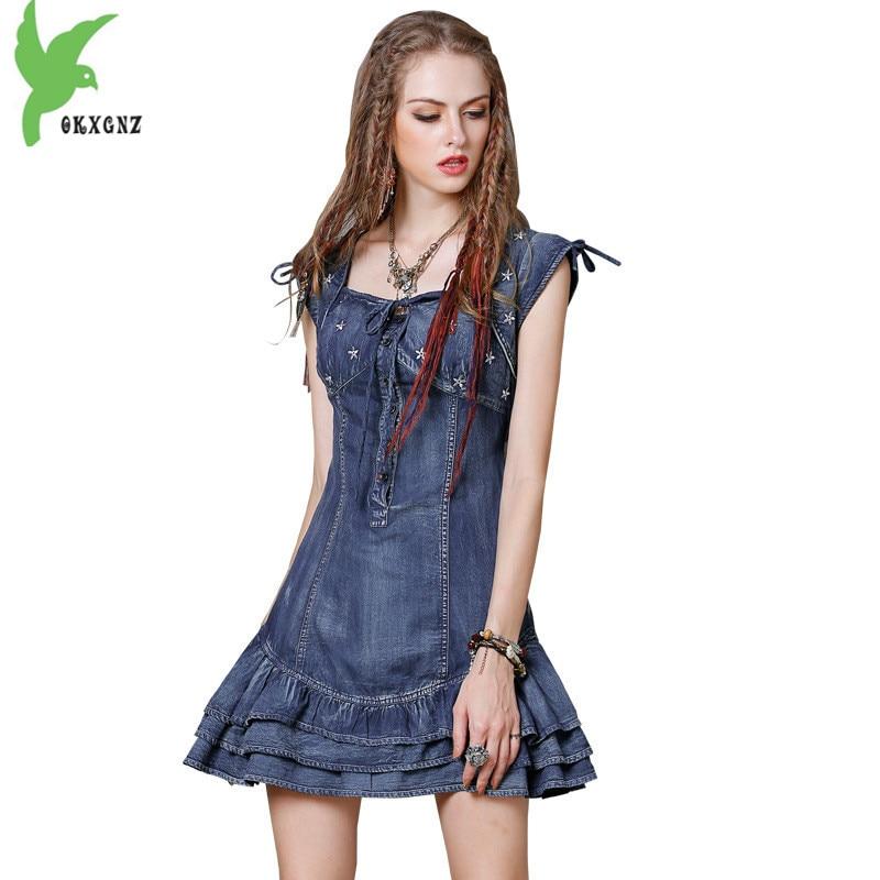 Denim dress for women 2018 summer Ruffled dress New Fashion short sleeve Mini dress Slim women embroidery jeans dress OKXGNZ1792