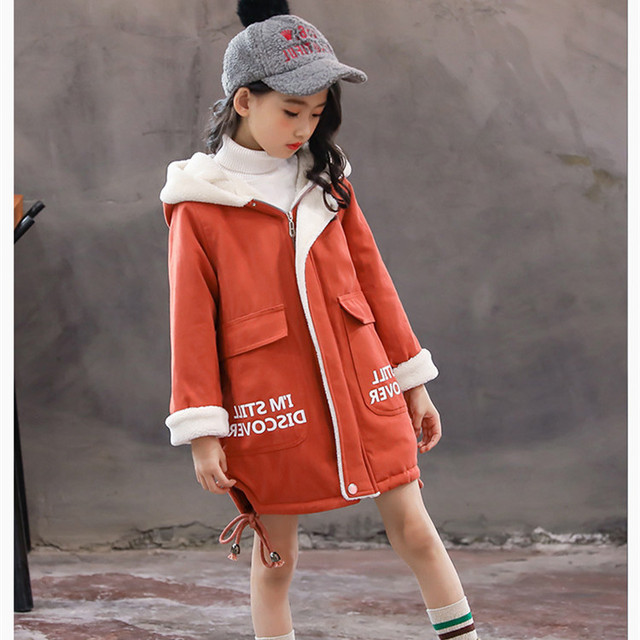 2018 Winter Girls Outerwear Hooded Jacket Fur Collar Children Winter Coat Girl Clothes 3 4 6 8 10 12 Years Old AKC166001