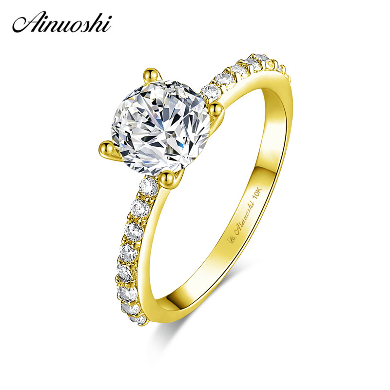 AINUOSHI 10k Solid Yellow Gold Ring 4 Prongs 1.25 ct Round Cut SONA Diamond Wedding Engagement Jewelry Classic Bridal Band RingAINUOSHI 10k Solid Yellow Gold Ring 4 Prongs 1.25 ct Round Cut SONA Diamond Wedding Engagement Jewelry Classic Bridal Band Ring