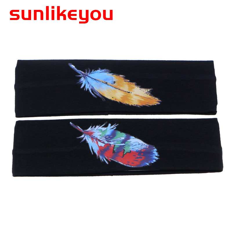 Sunlikeyou Newborn Kids Baby Hair Accessories Elastic Cotton Hair Bands Girls Turban Cartoon Feather Printing Baby Headband