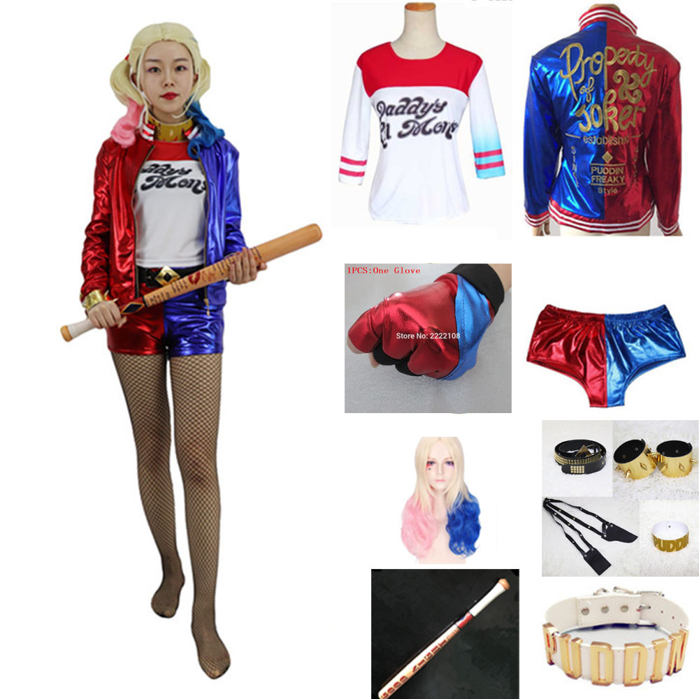 New Movie Batman Suicide Squad Harley Quinn Clown Cosplay Costume Full Set Accessories Halloween Jacket For Adult Women Costumes