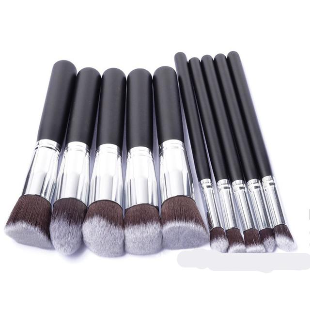 Professional Silver Wood Make Up Brushes 10 pcs Set