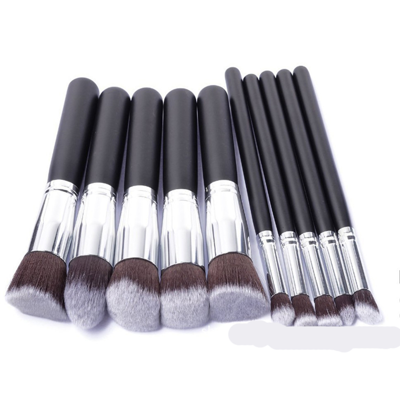 Silver Make Up Brushes Tool 10 PCS Makeup Brushes Set Classic Matte Black Makeup Brush Set