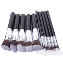 Silver Make Up Brushes Tool 10 PCS Makeup Brushes Set Classic Matte Black Makeup Brush Set Beauty Makeup Tools  Accessories