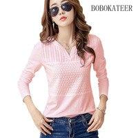 BOBOKATEER White Solid V Neck Summer Tops Long Sleeve Big Size Feminina Blusas Feminina Ver O