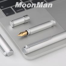 جديد Moonman N1 الإبداعية البسيطة الألومنيوم سبائك الصلب الفضة قلم حبر جيب قصيرة القلم اضافية غرامة/غرامة 0.38/0.5mm الأزياء هدية