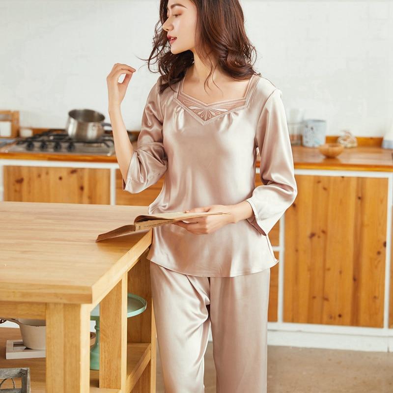 Summer Pyjama femme   Pajamas     Set   Sexy Night Suit Silk Sleepwear Tops + Long Pants Nighties Nightwear Women Lingerie
