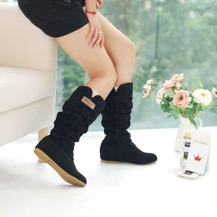 SLYXSH Nieuwe Big Size 35-43 Hot Mode Platte Laarzen Vrouwen Snowboots en Slip-On Ronde Neus vrouwen Winter Schoenen Vrouwen schoenen