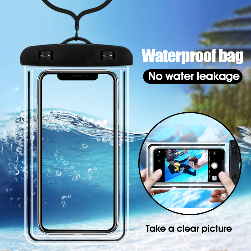 Proelio Universal Waterproof Case For IPhone 7 Xr X 6s 8 Samsung A50 Underwater Luminous Phone Case For Phone Dry Pouch Bag Case
