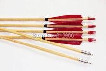 Longbowmaker 12PK Red Turkey Feathers Cedar Wood Target Practice Arrows W3RT2