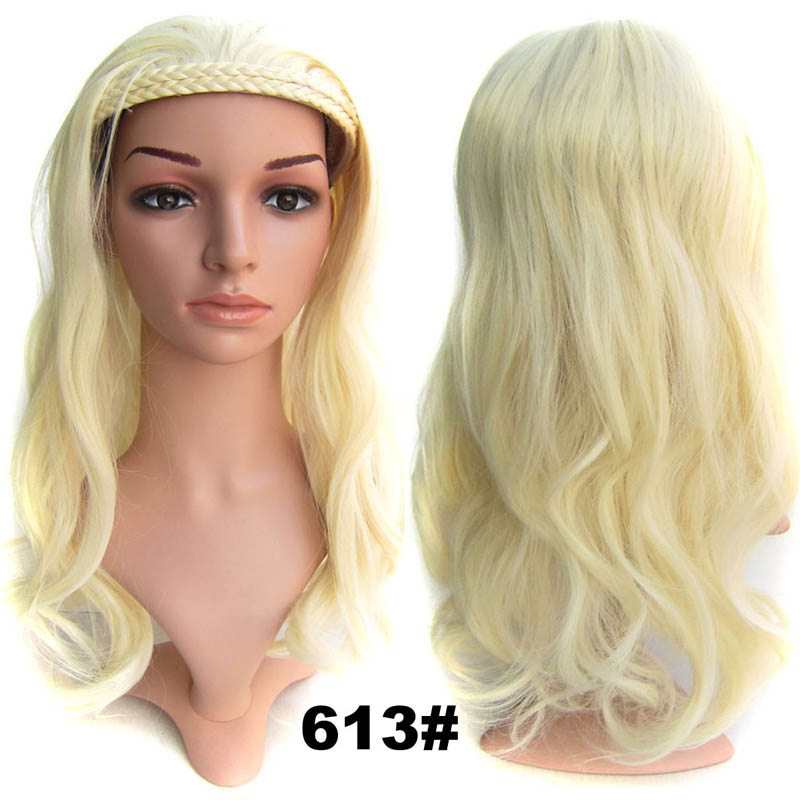 #613 Lightest Blonde Synthetic Hair Natural Wigs Medium 22inch 55cm 210g Wig Fall Wavy Heat Resistant Fiber 16Colours Available