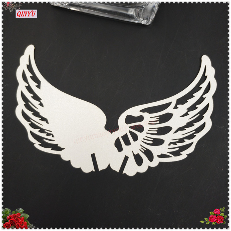 50Pcs Laser Cut Angel Wings Cup Card Paper Carved Pattern Wedding Card Table Place Card Iridescent Paper Party Decoration 7Z