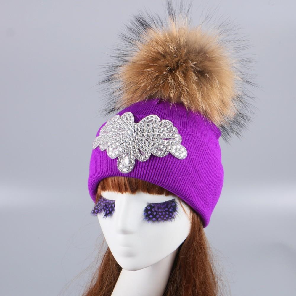 822f26d9e81e7 girl women brand winter hat cap mink fox ball pompom hats custom ...