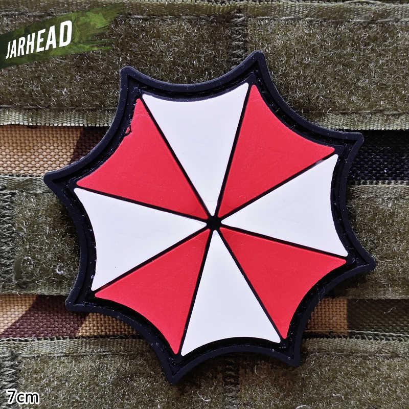 傘軍事 Pvc パッチベルクロゴム腕章戦術的なバッジ人格バックパック帽子服