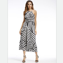 Summer Dress Women 2019 Fashion Black And White Loose Elegant Sexy Striped Cotton Casual Print Vestidos