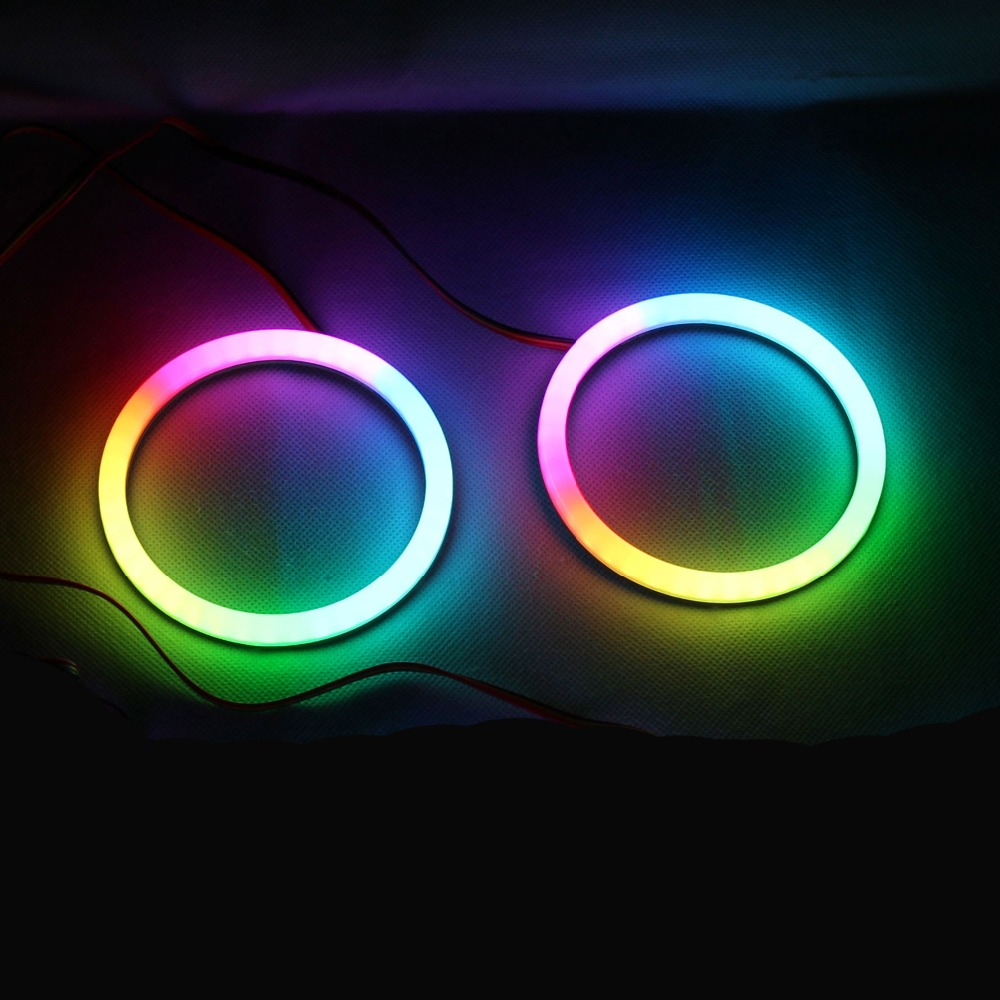 RGBW Angel Eyes Revolving Dynamic Cotton LED Sequential Flowing RF Wireless Control 80mm 90mm 100mm 106mm