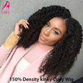 150% Плотность Полный Шнурок Glueless Человеческих Волос Парики Для Чернокожих Женщин 7А Кудрявый Вьющиеся Фронта Шнурка Человеческих Волос Парики Kinky Вьющиеся парик