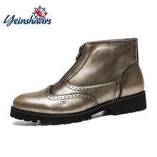 YEINSHAARS Men Boots Comfortable Winter Warm Waterproof Fashion Ankle Boots Casual Men Pu Leather Snow Boots Winter Shoes