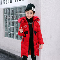 New kids winter jacket girls coat Detachable cap long down parkas warm clothing animal printed 4 10Years children cotton jackets