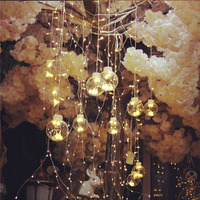 3M 12pcs bulb&123 led beads Transparent Balls LED Curtain Fairy Tale String Lights 220V Romantic Xmas Wedding Party Decor Lights