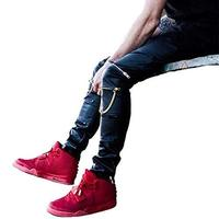 Drop Shipping Tight fitting Slim Black Leather Men Pants Black Zipper Hip hop Skinny Male Trousers Nightclub Bar Costumes