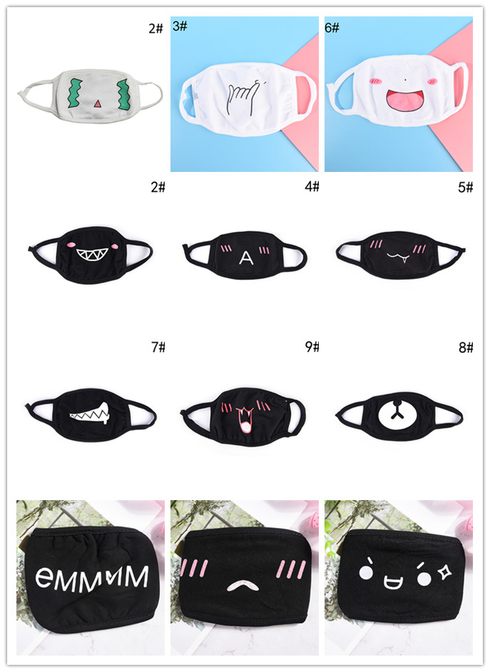 1PC Unisex Cartoon Funny Cotton Black Mouth Half Face Soft Anti-fog Anti-dust Mask Patterns Fashion Black/White 50 Styles