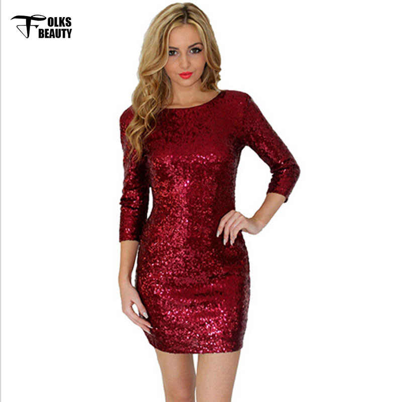 8df90cd2e17 ... Plus Size Gold Sexy Club Dress Short 2016 Summer Women Party Dresses  Red Sequin bodycon Black ...