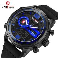 2018 KADEMAN роскошные полный сталь для мужчин водостойкие спортивные часы для мужчин кварцевые цифровые часы кожа человек наручные часы Relogio Masculino