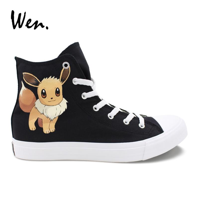 Wen Custom Shoes Pokemon Eevee Hand Painted Canvas Cosplay Shoes Men Women Sneakers High Top Cross Straps Loafer Flat Plimsolls