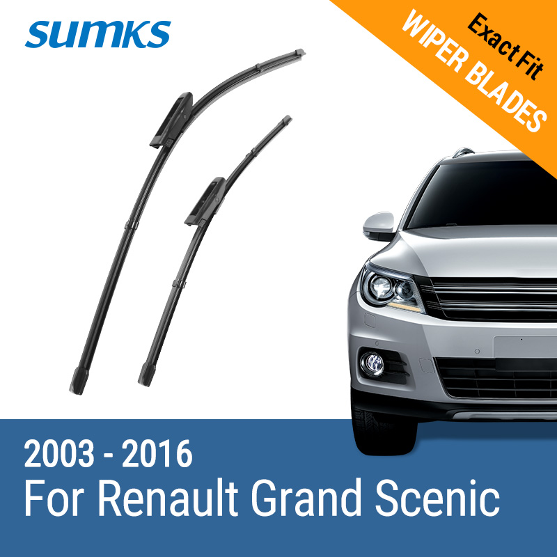 SUMKS Lames D'essuie-Glace pour Renault Grand Scenic II III 2003 2004 2005 2006 2007 2008 2009 2010 2011 2012 2013 2014 2015 2016