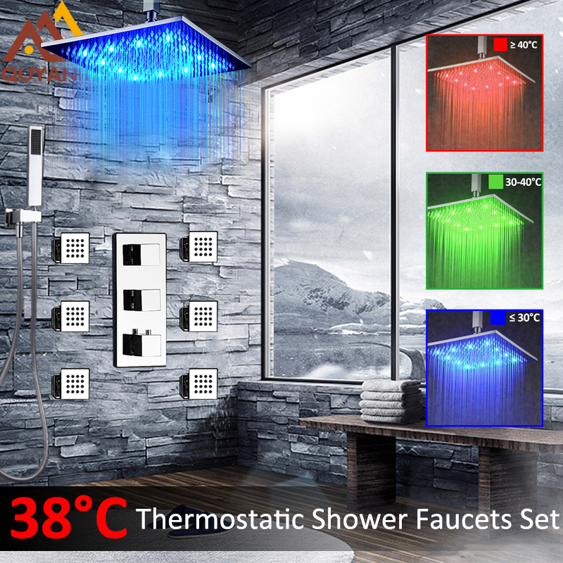 Thermostatic Shower Faucets Set Wall Mounted LED Changing Shower Head 6pcs Massage SPA Jets Three Handles Mixer Tap Handshower chrome finish dual handles thermostatic valve mixer tap wall mounted shower tap