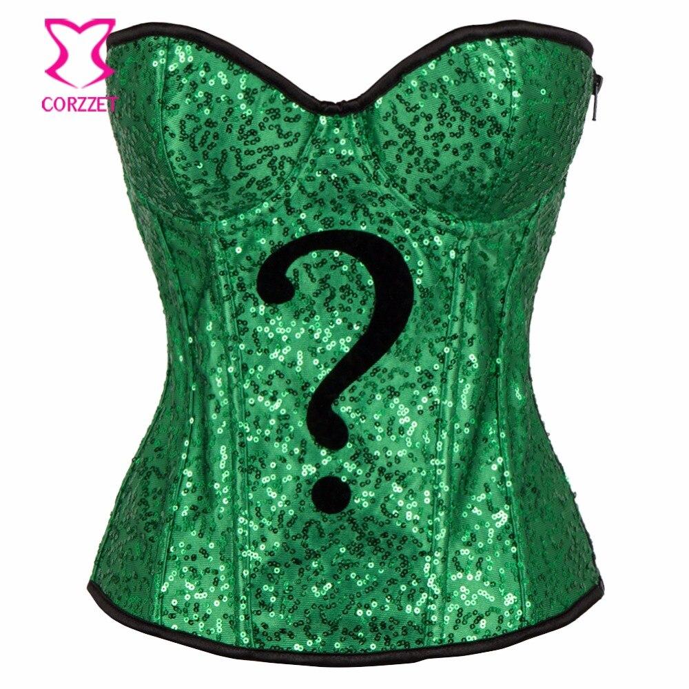 Corsés de fiesta de lentejuelas verdes y corsé de Halloween Top Sexy Burlesque disfraces corsé gótico Cosplay Korsett para mujer