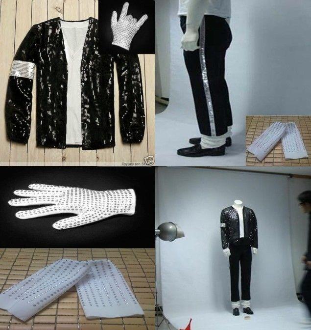 Nouveau Michael Jackson Billie Jean Costumes Sequin Enfants Adultes MJ Veste + Pantalon + Gants + Chaussettes Spectacle Noir À Paillettes Pacthwork