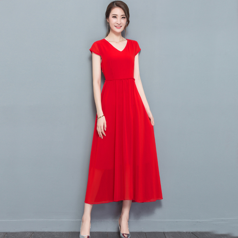Red midi chiffon party dress fit and flare sundress plus size large dresses summer solid elegant noble casual beach clothing